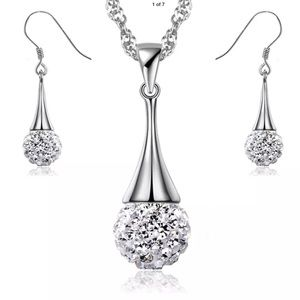 New Sterling Silver Crystal Necklace Earrings Set